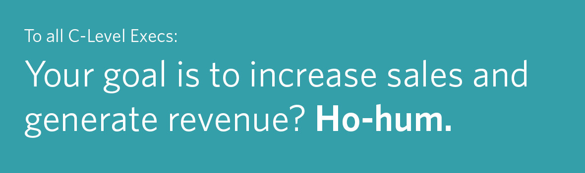To All C-Level Execs: Your Goal is to Increase Sales and Generate Revenue? Ho-hum.